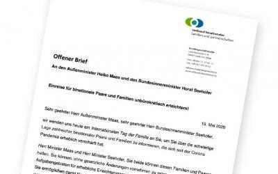 Offener Brief an Außenminister Heiko Maas und Bundesinnenminister Horst Seehofer: Einreise für binationale Paare und Familien unbürokratisch erleichtern!